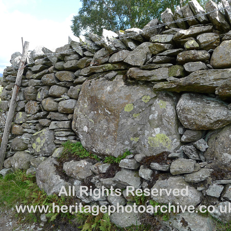 HRS 9680 Little Langdale, boulder dry stone wall L1180448