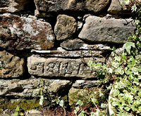 HRS 10297 Maulds Meaburn, corn mill 1813 date in dry-stone wall L7740788